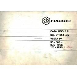 Catalogue de pièces détachées Scooter Vespa PK à Vitesses, PK 50, PK 50 S, PK 80 S, PK 100 S, PK 125, PK 125 S