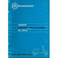 Catalogue de pièces détachées Scooter Vespa 50 N Speedmatic, Vespa PK 50 N Plurimatic mod. V5P1T, 1988