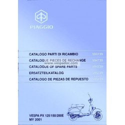 Catalogue de pièces détachées Scooter Vespa PX 125 E, Vespa PX 150 E, Vespa PX 200 E, Vespa PX Frein à Disques, 2001