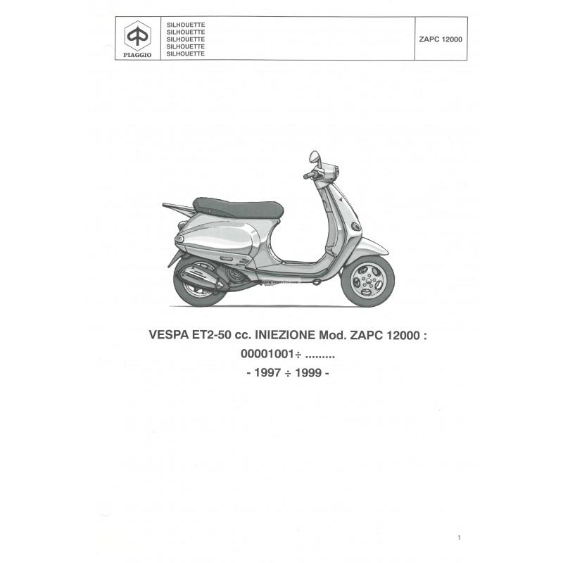 Catalogo de piezas de repuesto scooter vespa et2 50 cc for Catalogo piaggio vespa