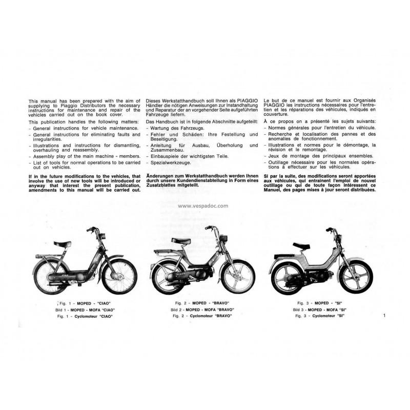 workshop manual piaggio ciao, piaggio bravo, piaggio si, 1979