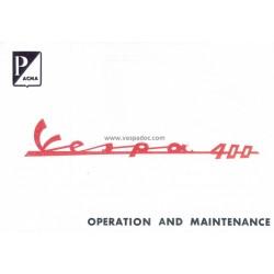 Notice d'emploi et d'entretien Vespa 400, Anglais