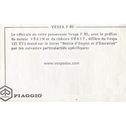 Notice d'emploi et d'entretien Vespa 80, Vespa P80, mod. V8A1T