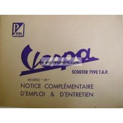 """Notice d'emploi et d'entretien Scooter Vespa TAP Type """"M""""  Mod. 1956"""