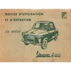 Notice d'emploi et d'entretien Vespa 400 Mod. 1958 - 1959