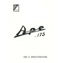 Notice Piaggio Ape D 175cc mod. AD1T, AD2T, Italien