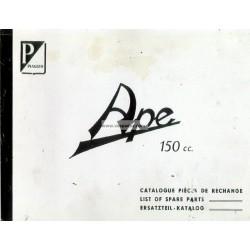 Catalogue de pièces Piaggio Ape B 150 de 1953