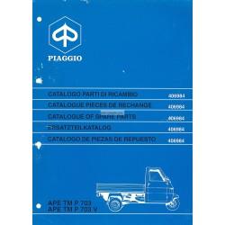 Catalogue de pieces Piaggio Ape TM P703, Ape TM P703V, ATM2T