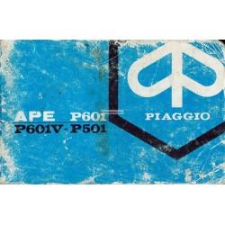 Notice Piaggio Ape P501 mod. MPR2T, Ape P601 mod. MPM1T, MPM2T, Ape P601V mod. MPV1T, MPV2T, Italien