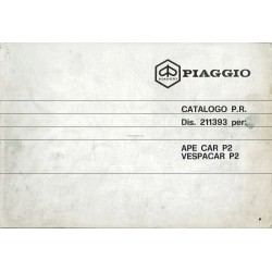Catalogue de pieces Piaggio Ape, Apecar, Vespacar P2, 1983