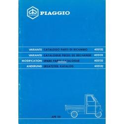 Variante au Catalogue de pièces Piaggio Ape 50 Mod. TL6T