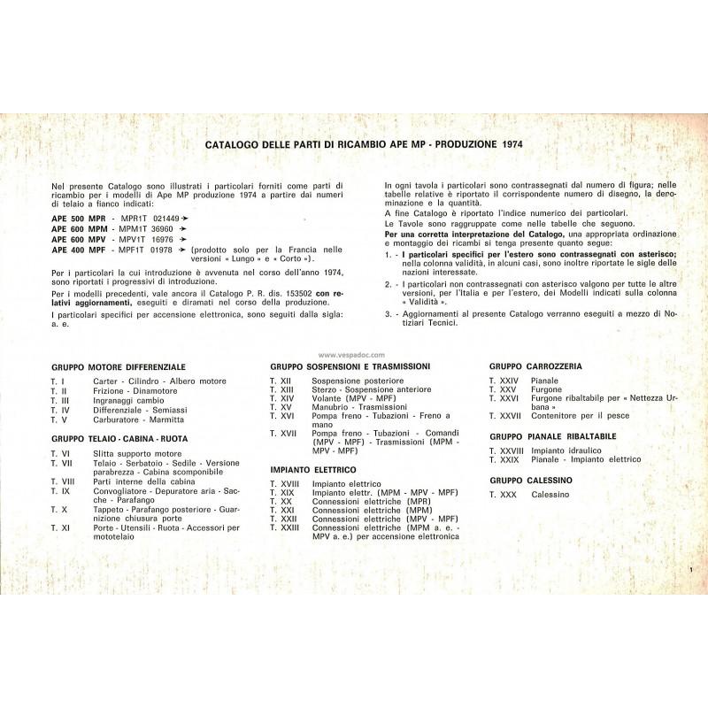 catalogue of spare parts piaggio ape mp, ape p500 mpr, ape p600