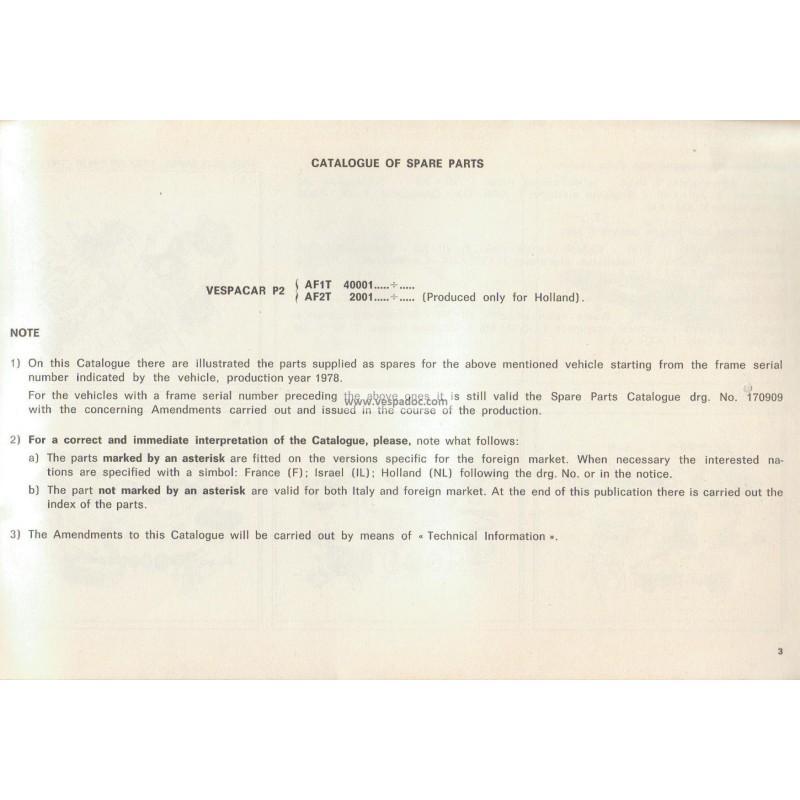 catalogue of spare parts piaggio ape, apecar, vespacar p2 - vespadoc
