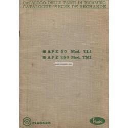 Catalogue de pieces Piaggio Ape 50 Mod. TL1, Ape 250 Mod. TM1