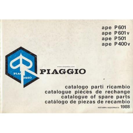 catalogue of spare parts piaggio ape p400v mpf, p601 mpm, p601v