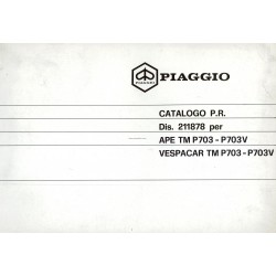Catalogue de pieces Piaggio Ape TM P703, Ape TM P703V, ATM2T, 1984