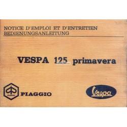 Notice d'emploi et d'entretien Vespa 125 Primavera mod. VMA2T