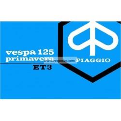 Notice d'emploi et d'entretien Vespa 125 Primavera ET3 mod. VMB1T, Italien