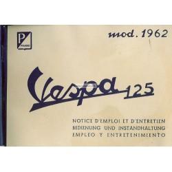 Notice d'emploi et d'entretien Vespa 125 GT mod. VNT2T 1961