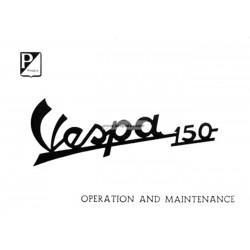 Notice d'emploi et d'entretien Vespa 150 mod. VBA1T, Anglais