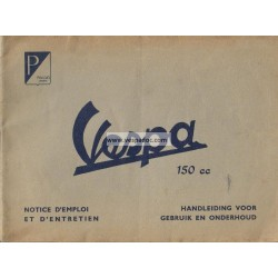 Notice d'emploi et d'entretien Vespa 150 mod. VL1T 1954