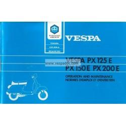 Notice d'emploi et d'entretien Vespa PX 125 E, PX 150 E, PX 200 E, Arcobaleno
