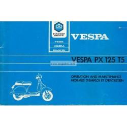 Notice d'emploi et d'entretien Vespa PX 125 T5, Vespa T5 mod. VNX5T
