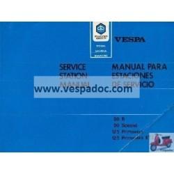Manuel Technique Scooter Vespa 50 R, 50 Special, 125 Primavera, 125 Primavera ET3, Anglais, Espagnol