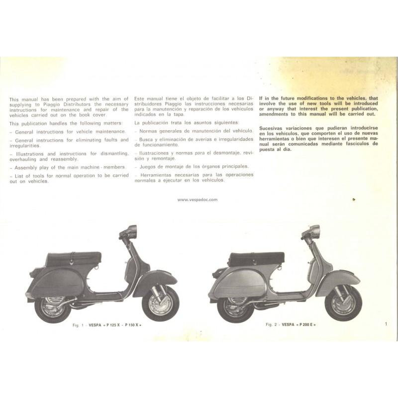 workshop manual scooter vespa px 125 vnx1t  px 150 vlx1t Vespa PX 200 Tuning vespa px 200 owners manual