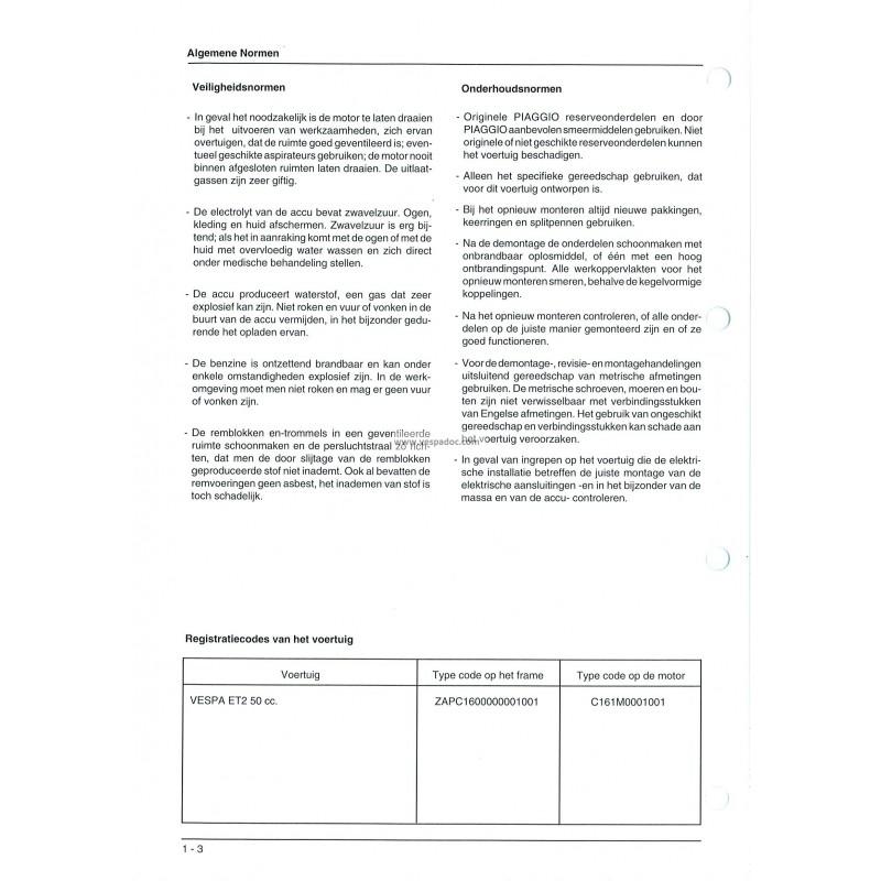 workshop manual scooter vespa et2, mod. zapc 1600 - vespadoc