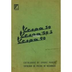 Catalogue de pièces détachées Scooter Vespa 50 mod. V5A1T, Vespa 50 S mod. V5SA1T, Vespa 90 mod. V9A1T, Anglais, Espagnol