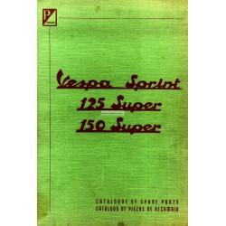 Catalogue de pièces détachées Scooter Vespa 150 Sprint VLB1T, 125 Super VNC1T, 150 Super VBC1T, Anglais, Espagnol