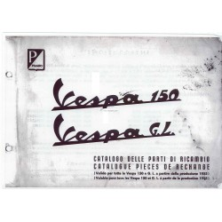 Catalogue de pièces détachées Scooter Vespa 150 mod. 1955 - 1963, Français, Italien
