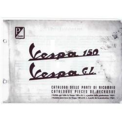 Ersatzteil Katalog Scooter Vespa 150 mod. 1955 - 1963, Französisch, Italienisch