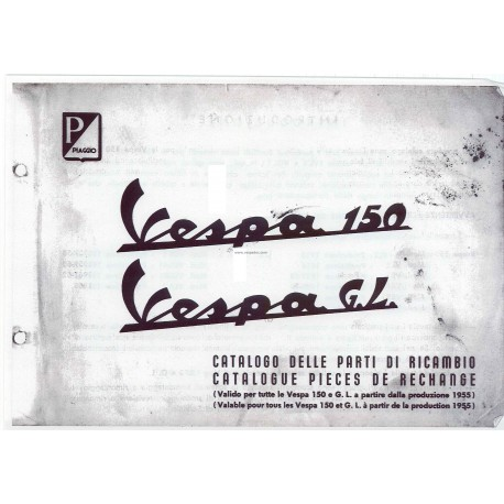 Catalogue of Spare Parts Scooter Vespa 150 mod. 1955 - 1963, French, Italian
