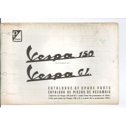 Catalogo delle parti di ricambio Scooter Vespa 150 mod. 1955 - 1963, Inglese, Spagnolo