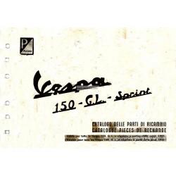 Catalogo de piezas de repuesto Scooter Vespa 150, Vespa 150 GL, Vespa 150 Sprint mod. 1955 - 1965, Francés, Italiano