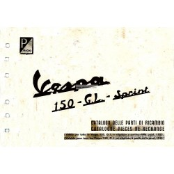 Catalogo delle parti di ricambio Scooter Vespa 150, Vespa 150 GL, Vespa 150 Sprint mod. 1955 - 1965, Francese, Italiano
