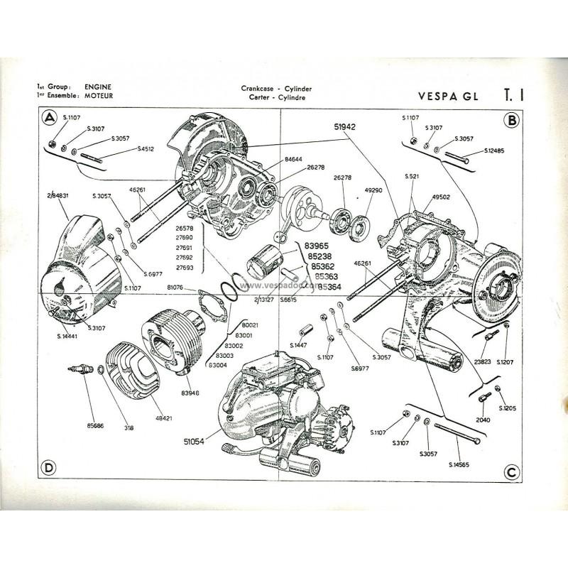 Catalogue of Spare Parts Scooter Vespa 150 GL mod. VGLA1T, French, English - Vespadoc