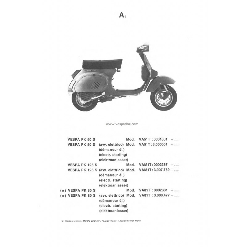 ersatzteil katalog scooter vespa pk automatica vespa pk 50 s va51t vespa pk 80 s va81t vespa. Black Bedroom Furniture Sets. Home Design Ideas