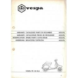 Catalogo de piezas de repuesto Scooter Vespa PK 50 XLS Plurimatic mod. VAS1T, 1987