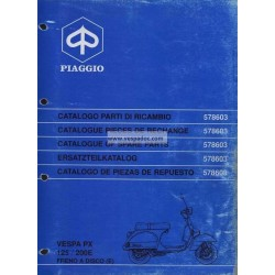 Catalogue of Spare Parts Scooter Vespa PX 125 E, Vespa PX 200 E, Vespa PX Disc Brake, 1998