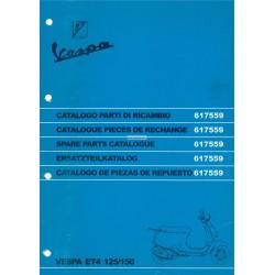 Ersatzteil Katalog Scooter Vespa ET4 125 cc, Vespa ET4 150 cc
