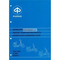 Manuale per Stazioni di Servizio Piaggio Ciao MIX, Piaggio SI MIX, Piaggio Bravo, 1995