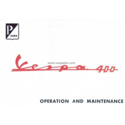 Manuale de Uso e Manutenzione Vespa 400, Inglese