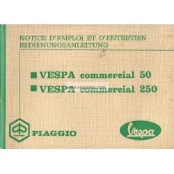 Notice d'emploi Piaggio Ape 50 mod. TL1T et Piaggio Ape 250 mod. TM1T