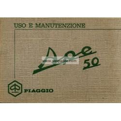 Bedienungsanleitung Piaggio Ape 50 mod. TL1T, Italienisch