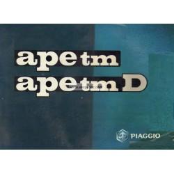 Notice d'emploi Piaggio Ape TM P703, Ape Tm P703 Diesel, Italien
