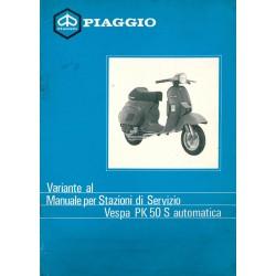 Manuel Technique Scooter Vespa PK 50 S Automatica mod. VA51T, Italien