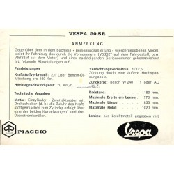 Operation and Maintenance Vespa 50 SR mod. V5SS2T